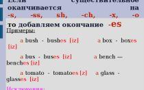 Окончание s у глаголов в английском языке + окончания s/ed/ing у существительных и прилагательных