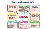 Фразовый глагол take: значения, формы, примеры и упражнения